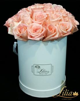 Luxury cylinder with 33 white roses